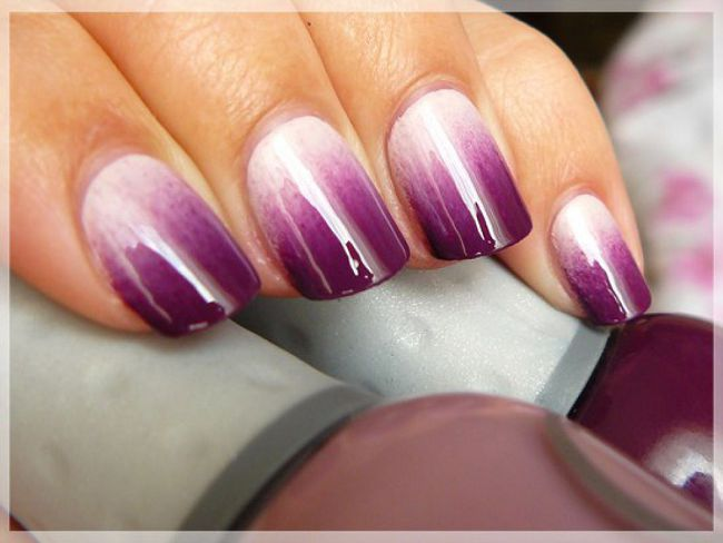 Омбре гель лаком на коротких ногтях