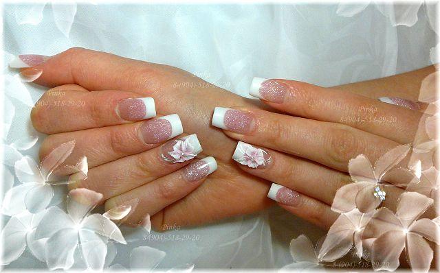 фото белый френч на коротких ногтях